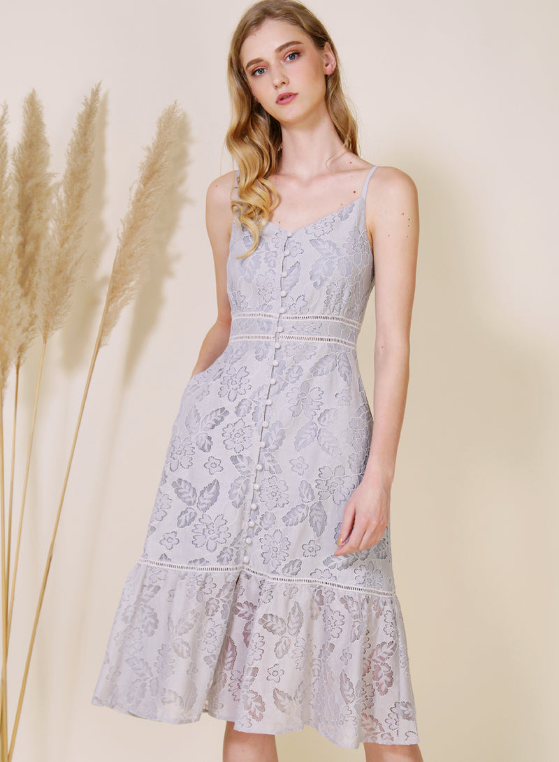 Ardour Button Down Lace Dress (Lilac Grey) at $ 48.00 only sold at And Well Dressed Online Fashion Store Singapore