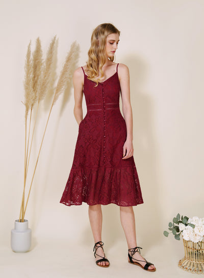 Ardour Button Down Lace Dress (Berry)