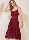 Ardour Button Down Lace Dress (Berry) at $ 48.00 only sold at And Well Dressed Online Fashion Store Singapore