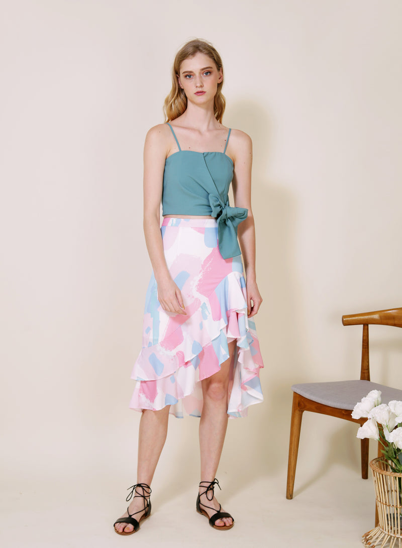 Daybreak Double Ruffled Skirt (Cool) at $ 38.00 only sold at And Well Dressed Online Fashion Store Singapore