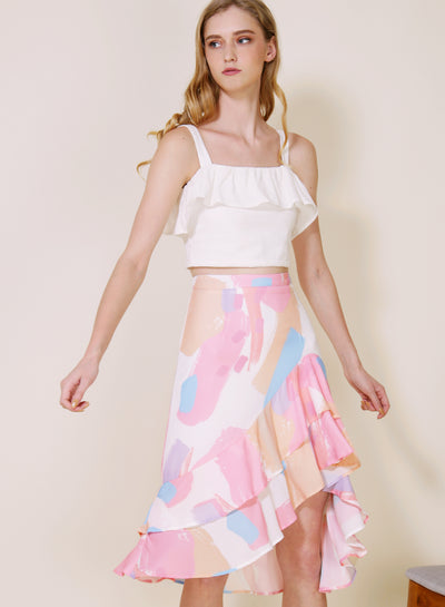 Daybreak Double Ruffled Skirt (Warm) at $ 38.00 only sold at And Well Dressed Online Fashion Store Singapore