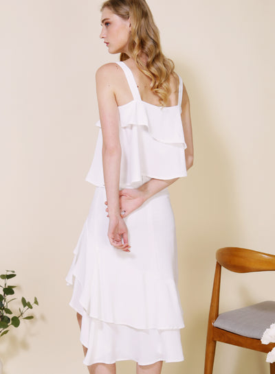 Dawn Double Tier Top (White) at $ 34.50 only sold at And Well Dressed Online Fashion Store Singapore