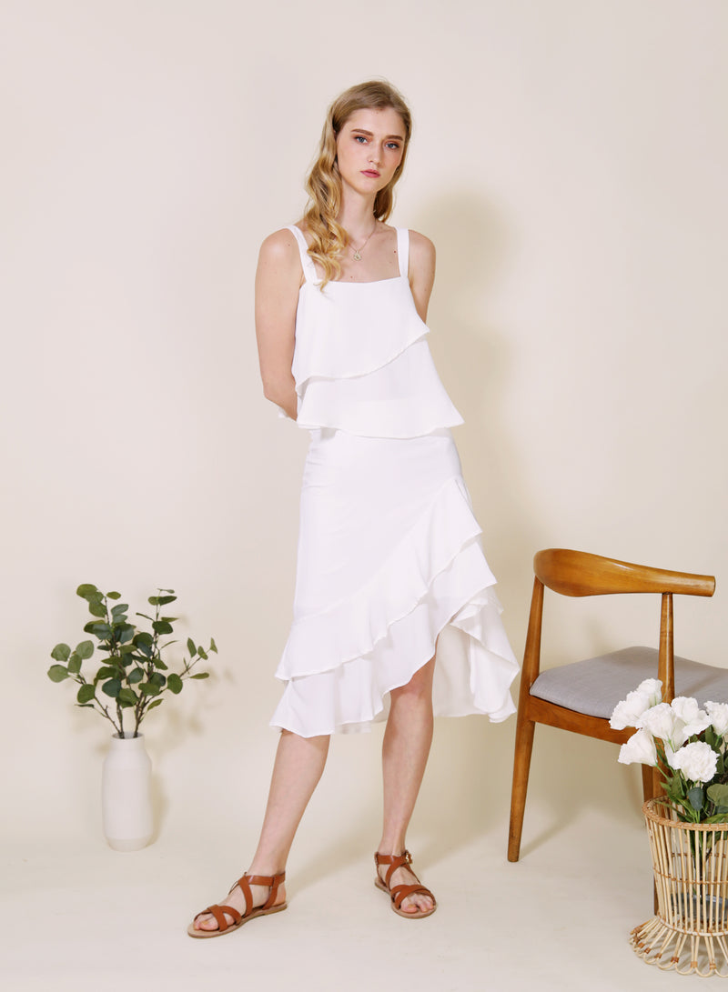 Daybreak Double Ruffled Skirt (White)
