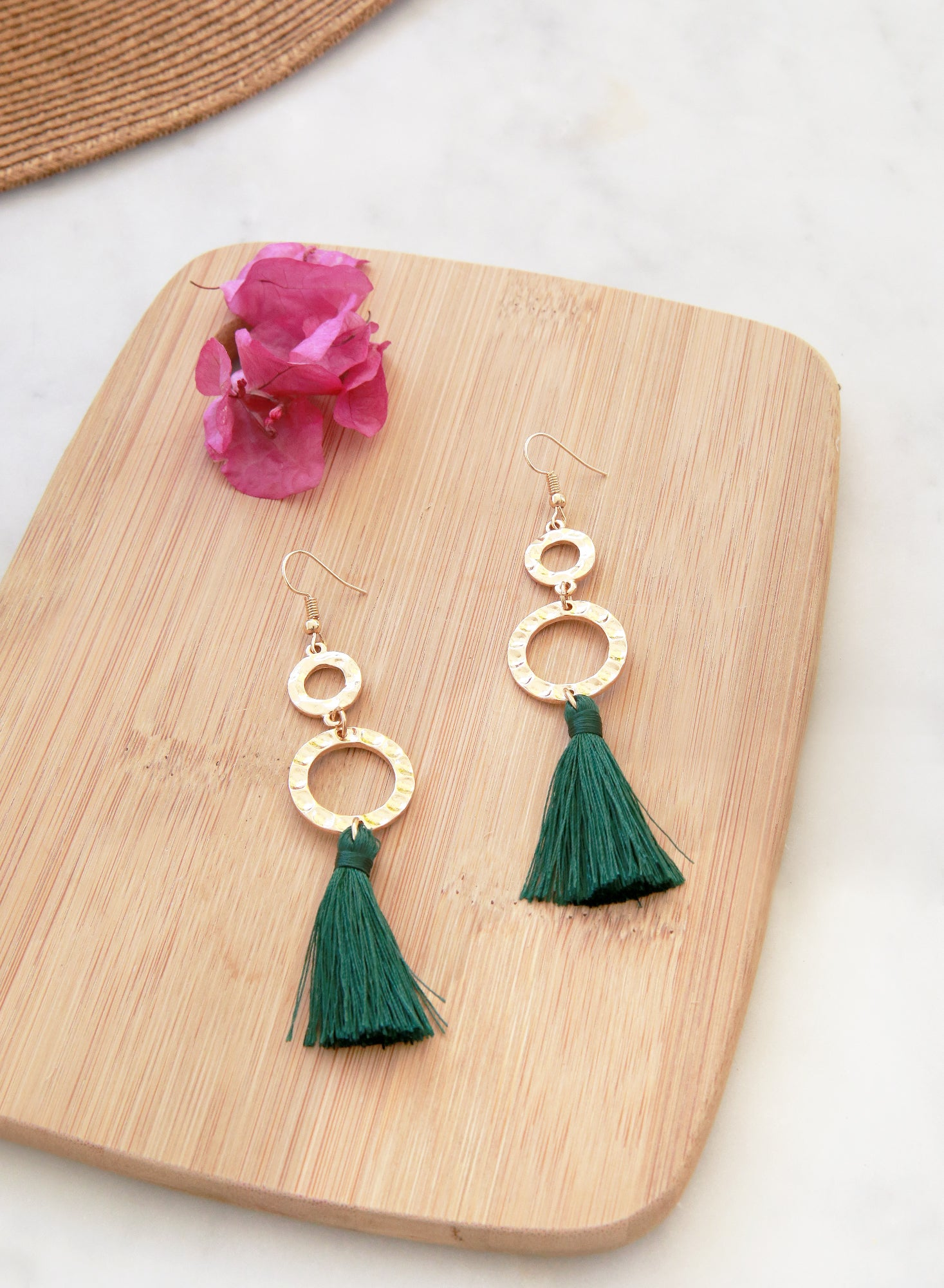 Jadyn Gold Drop Tassels Earrings (Forest Green) - And Well Dressed