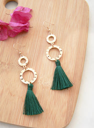 Jadyn Gold Drop Tassels Earrings (Forest Green)