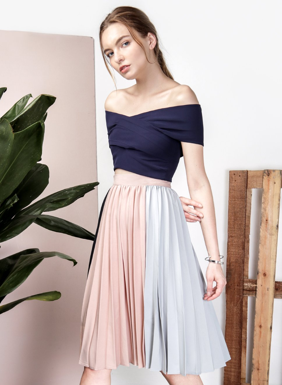 ECLIPSE Tri Colour Skirt (Navy) - And Well Dressed