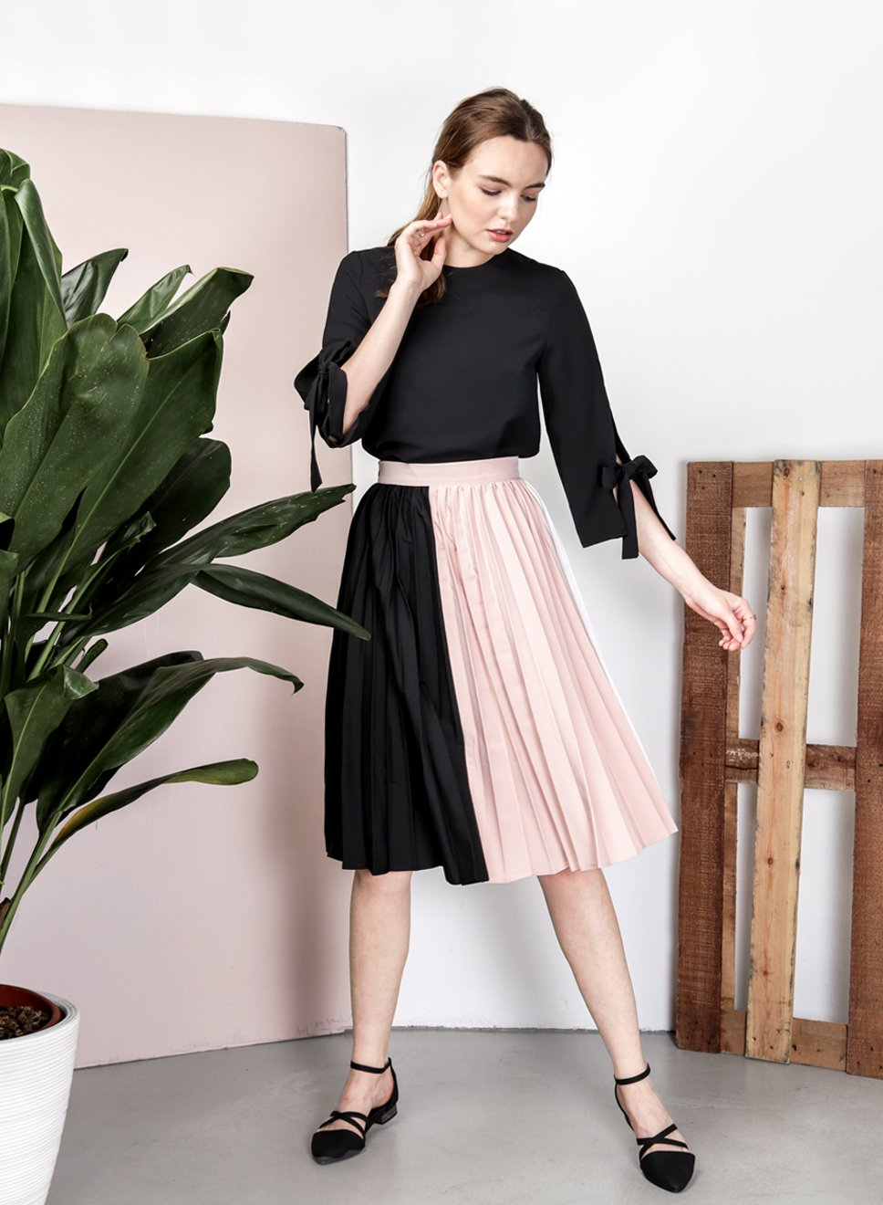 ECLIPSE Tri Colour Skirt (Black) at $ 21.50 only sold at And Well Dressed Online Fashion Store Singapore
