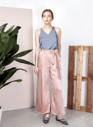STARDUST Satin Flared Pants (Rose Gold) at $ 22.50 only sold at And Well Dressed Online Fashion Store Singapore