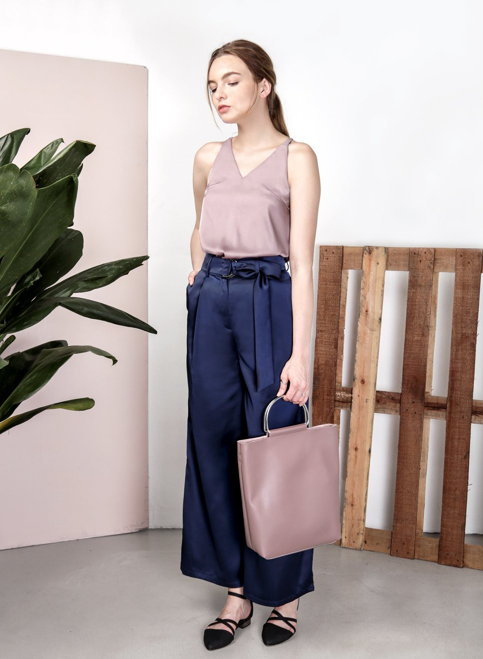 STARDUST Satin Flared Pants (Navy) at $ 22.50 only sold at And Well Dressed Online Fashion Store Singapore