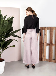 STARDUST Satin Flared Pants (Lilac Taupe) at $ 22.50 only sold at And Well Dressed Online Fashion Store Singapore