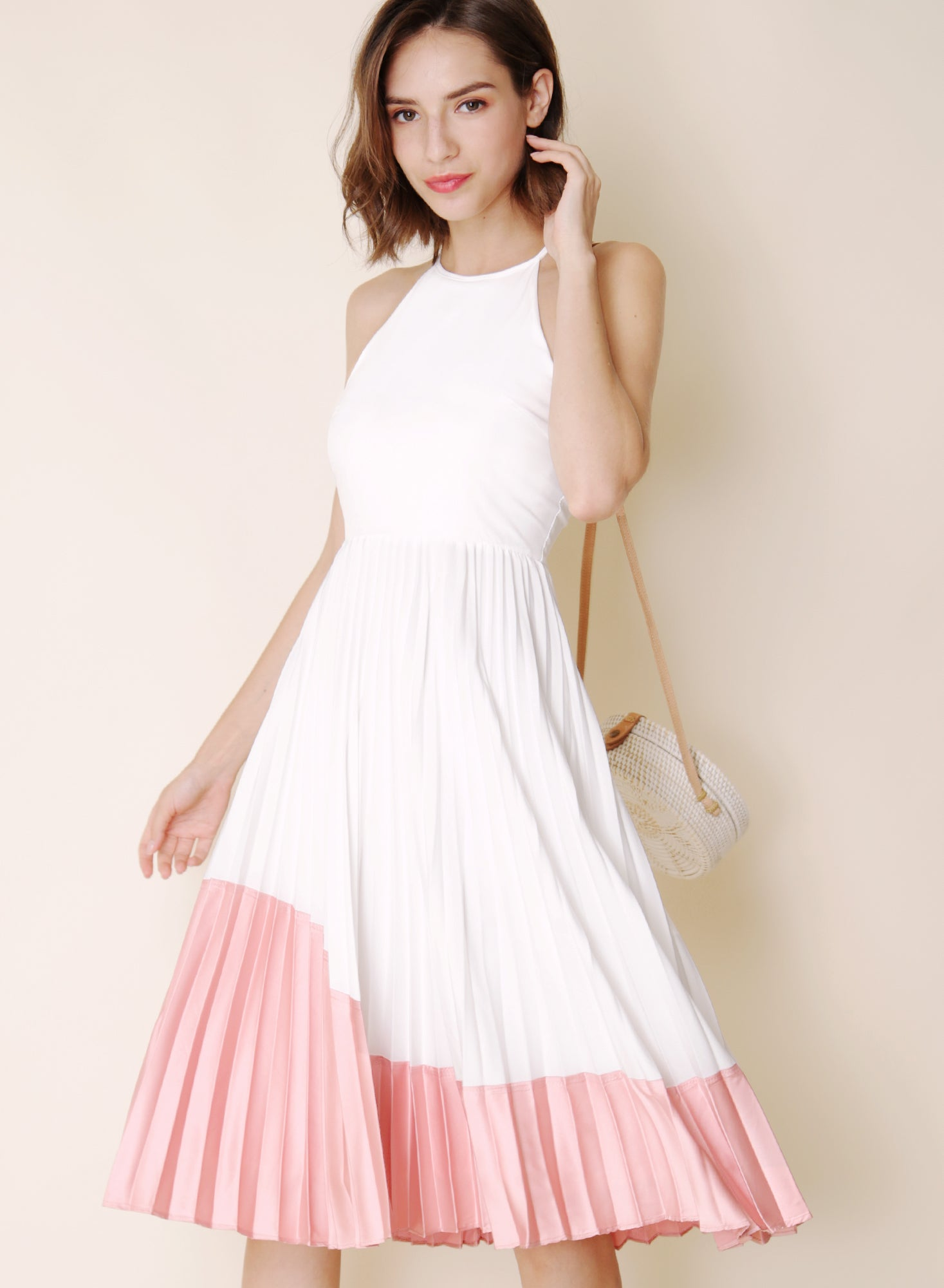 Lavish Duo Tone Pleats Dress (White/Pink) at $44.50 only sold at And Well Dressed Online Fashion Store Singapore