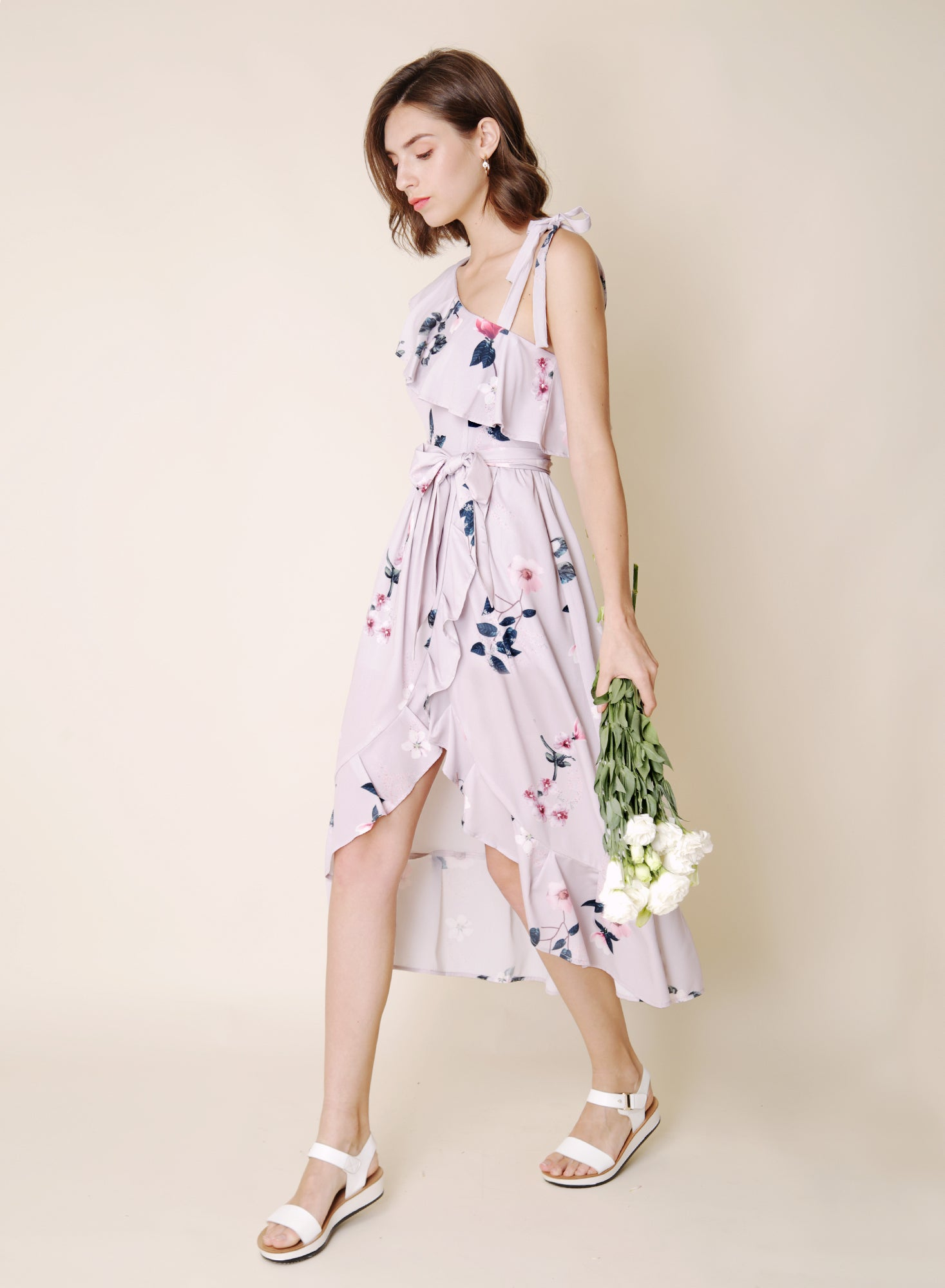 Bespoke Ruffled Floral Maxi Dress (Lavender)