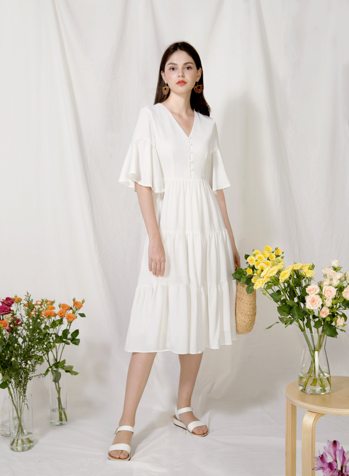 Belle Ruffled Sleeves Midi Dress (White)