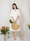 Livie Half Moon Straw Tote at $ 39.90 only sold at And Well Dressed Online Fashion Store Singapore