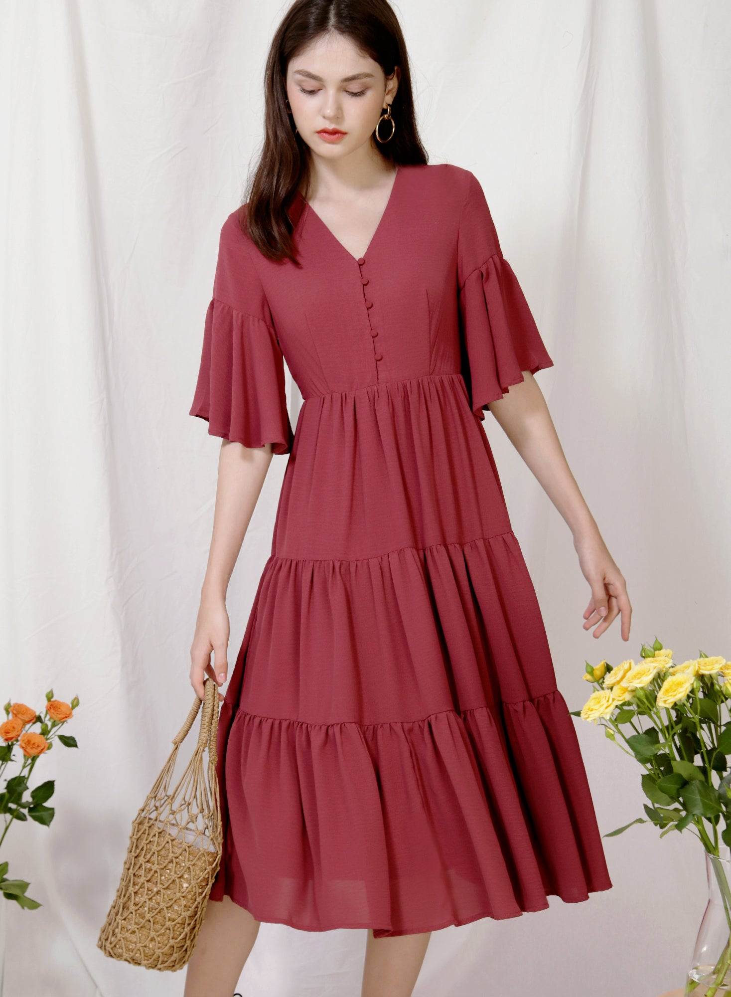 Belle Ruffled Sleeves Midi Dress (Dark Rose) at $ 49.50 only sold at And Well Dressed Online Fashion Store Singapore