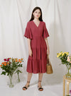 Belle Ruffled Sleeves Midi Dress (Dark Rose)