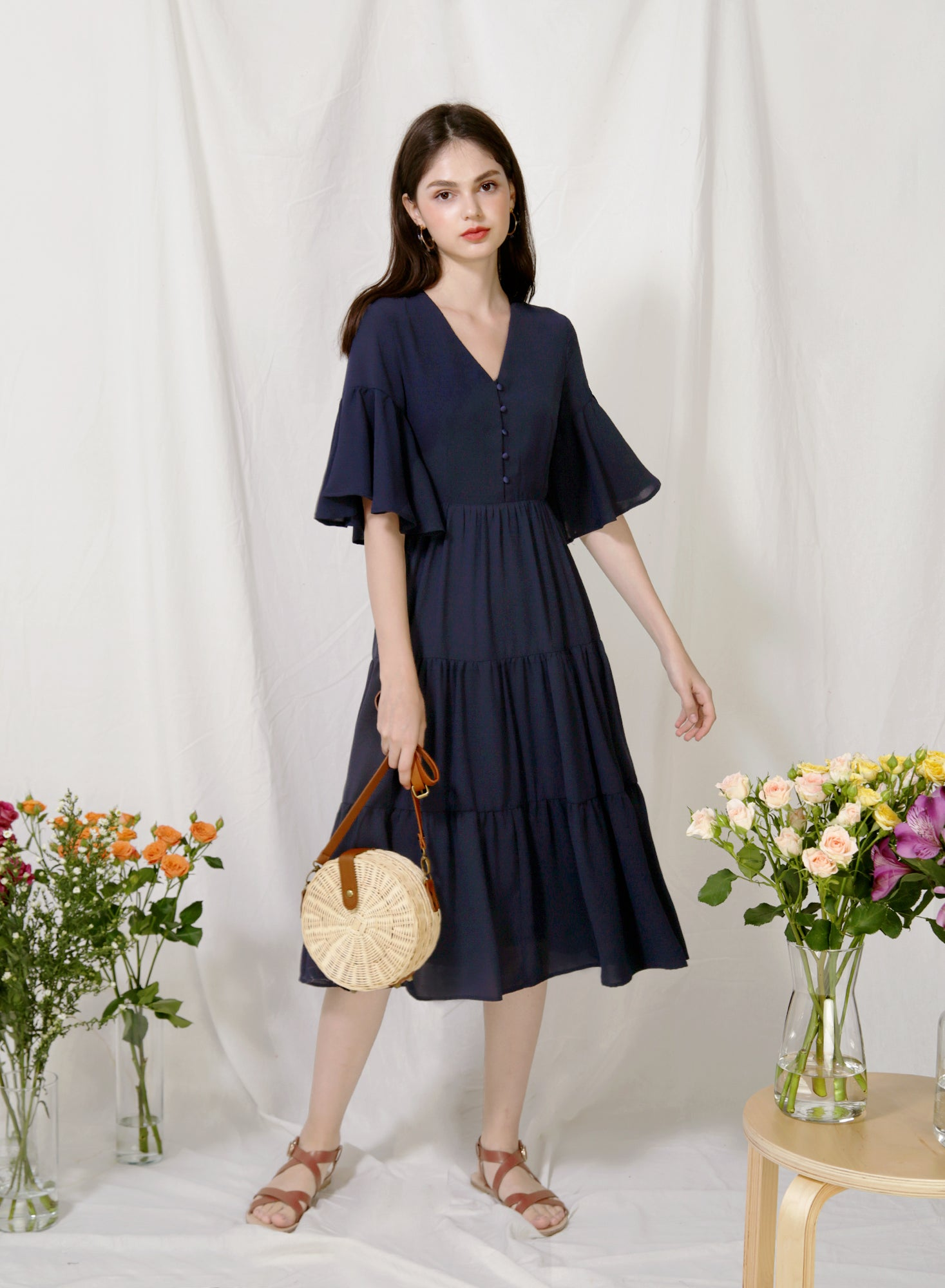 Belle Ruffled Sleeves Midi Dress (Navy)