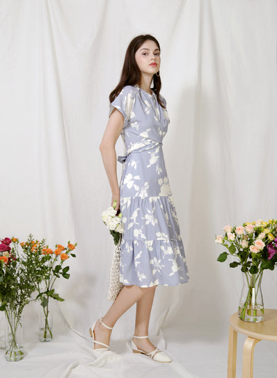 Foliage Wrap Front Tiered Dress (Lilac Grey) at $ 46.50 only sold at And Well Dressed Online Fashion Store Singapore