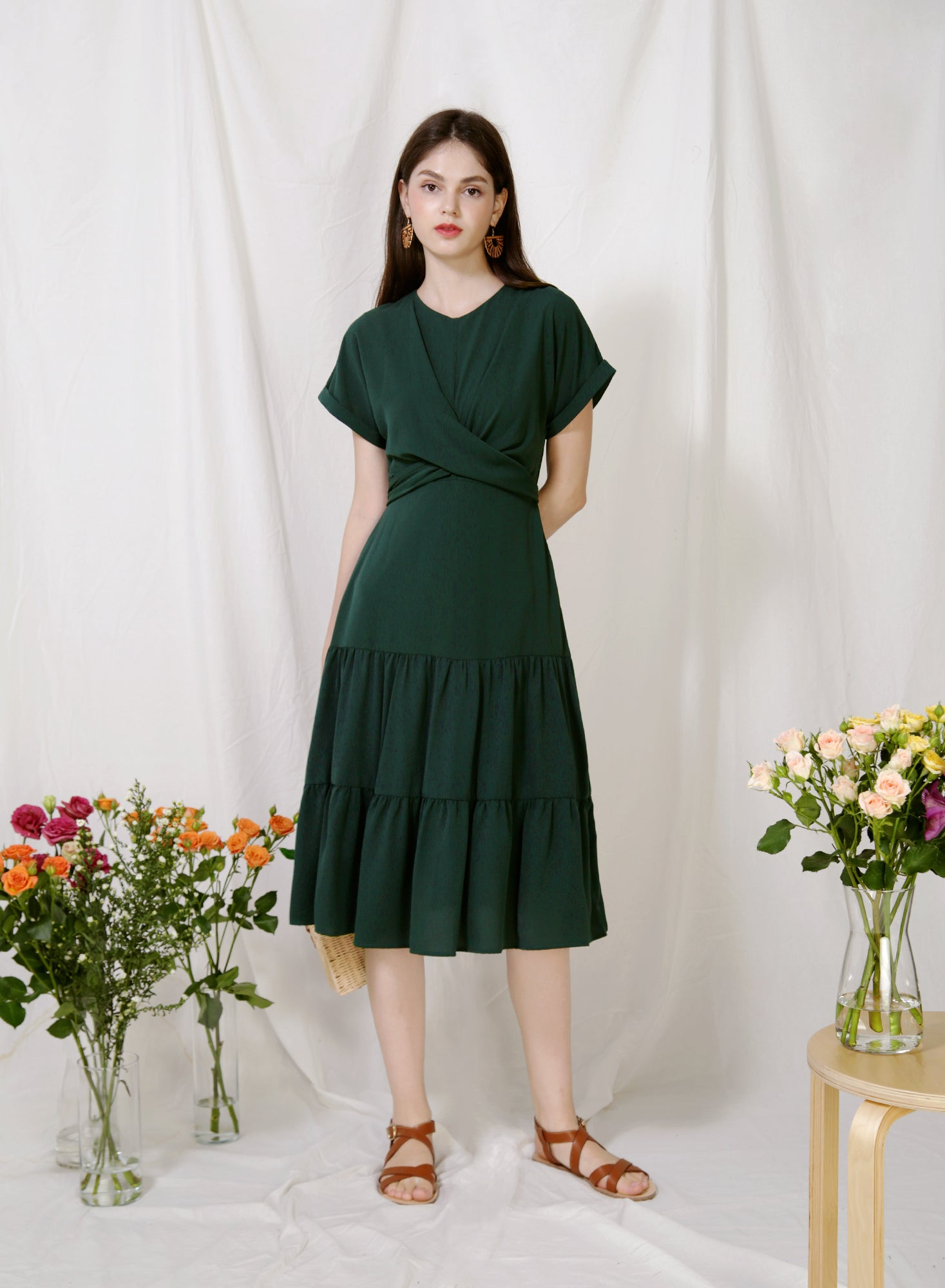 Foliage Wrap Front Tiered Dress (Forest)