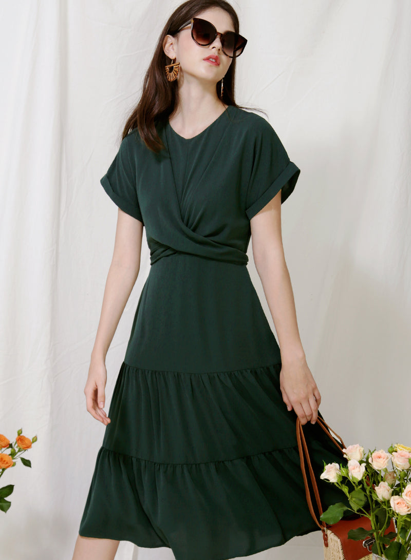 Foliage Wrap Front Tiered Dress (Forest) at $ 46.50 only sold at And Well Dressed Online Fashion Store Singapore