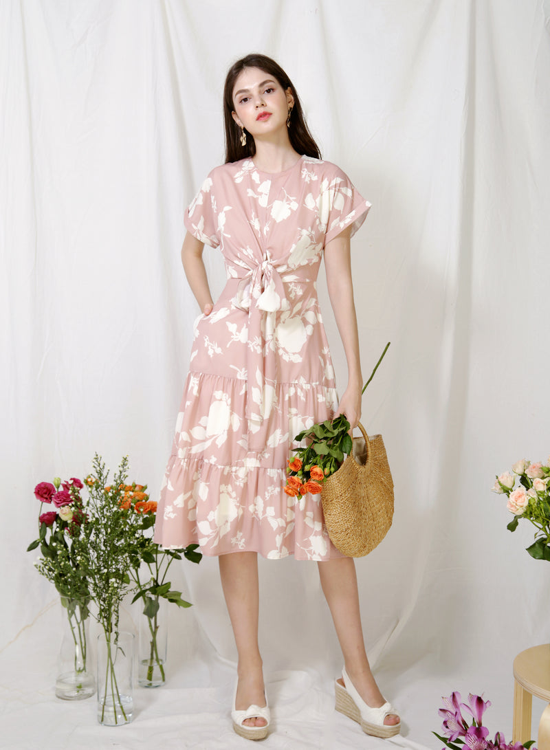 Foliage Wrap Front Tiered Dress (Blush) at $ 46.50 only sold at And Well Dressed Online Fashion Store Singapore