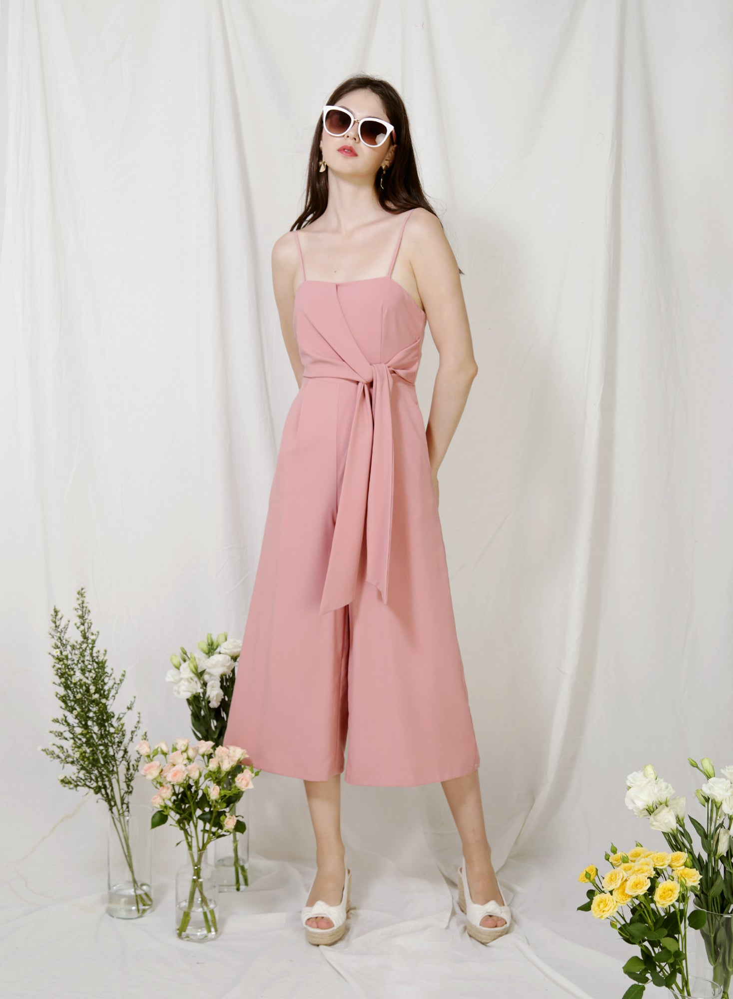 Preen Tie Front Jumpsuit (Blush) at $ 45.00 only sold at And Well Dressed Online Fashion Store Singapore