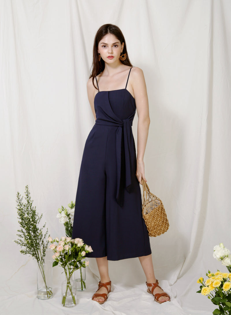 Preen Tie Front Jumpsuit (Navy) at $ 45.00 only sold at And Well Dressed Online Fashion Store Singapore