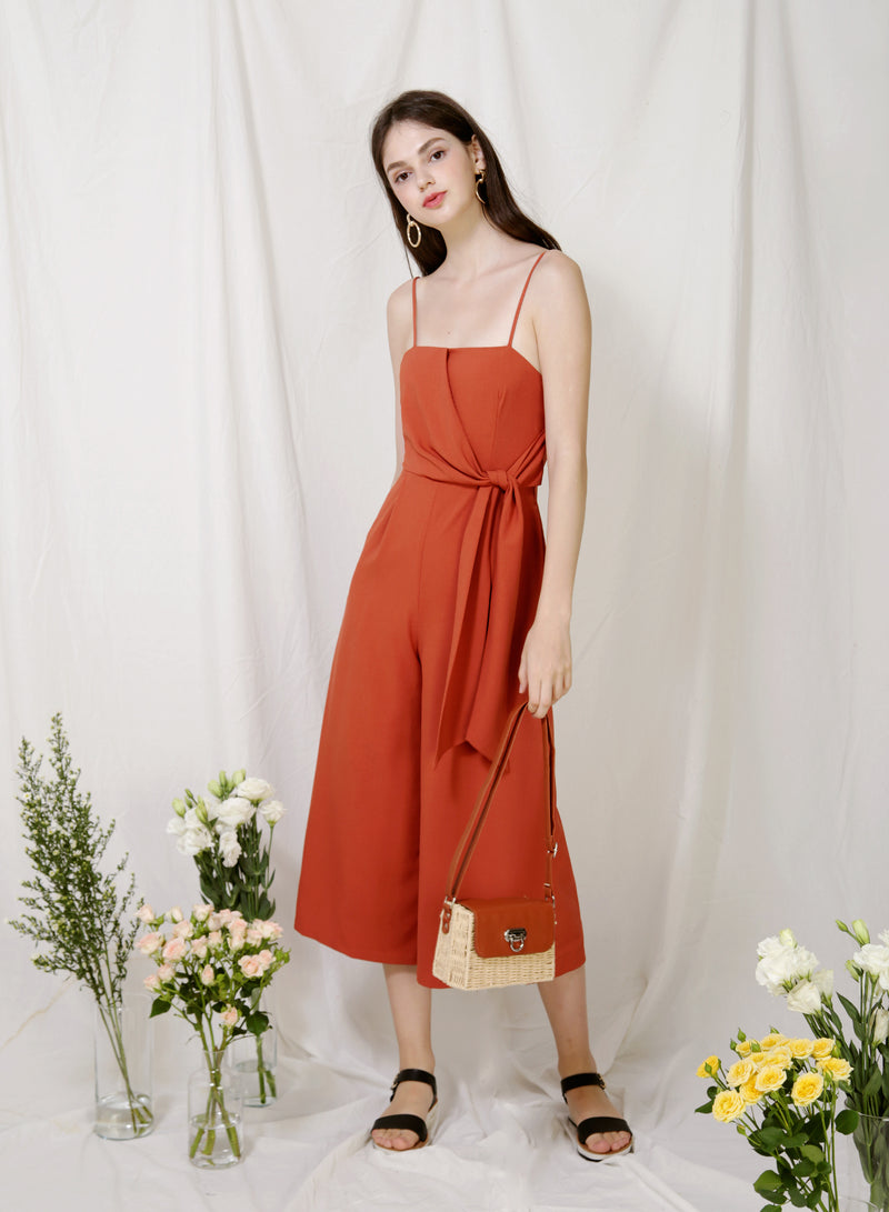 Preen Tie Front Jumpsuit (Amber) at $ 45.00 only sold at And Well Dressed Online Fashion Store Singapore