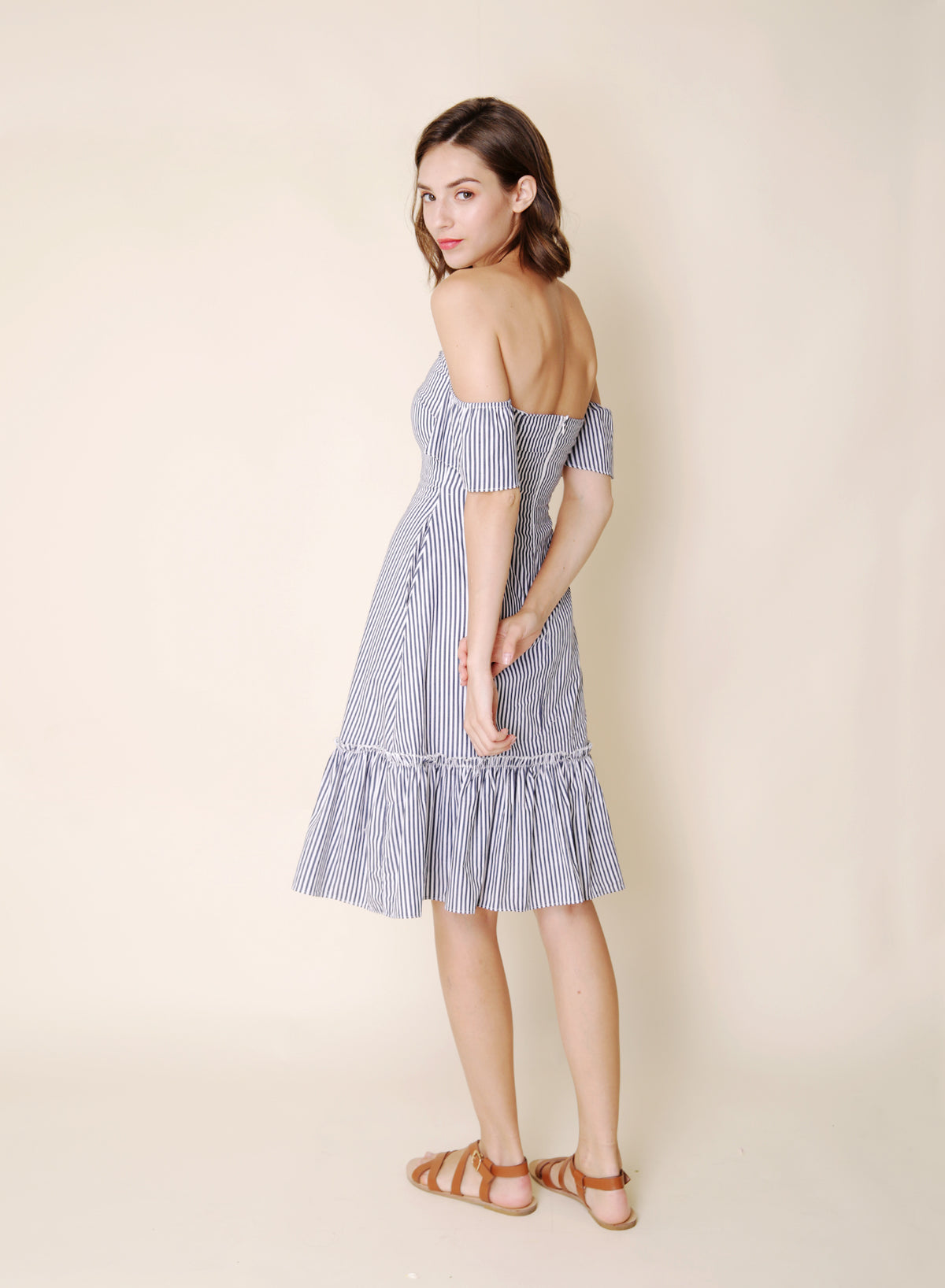 Bayview Off Shoulder Ruffle Hem Dress (Stripes) at $ 43.50 only sold at And Well Dressed Online Fashion Store Singapore
