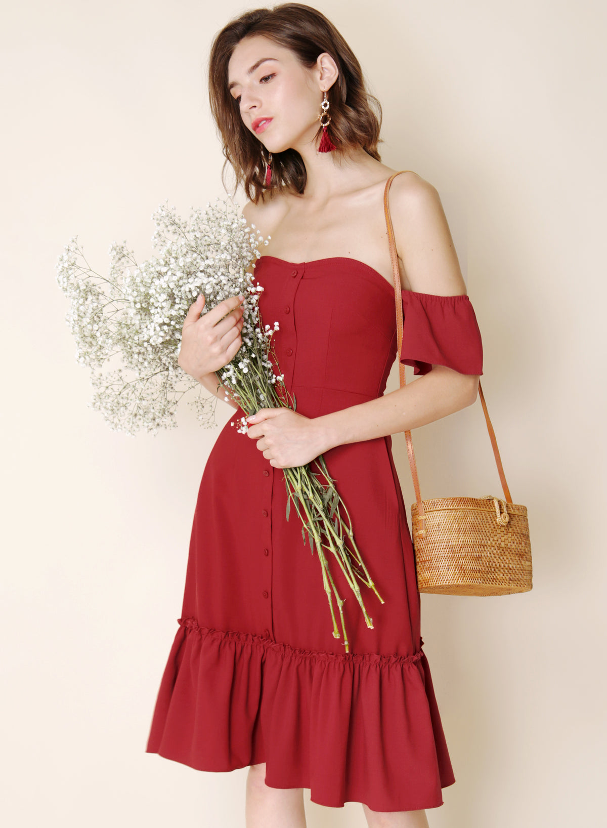 Bayview Off Shoulder Ruffle Hem Dress (Cherry)