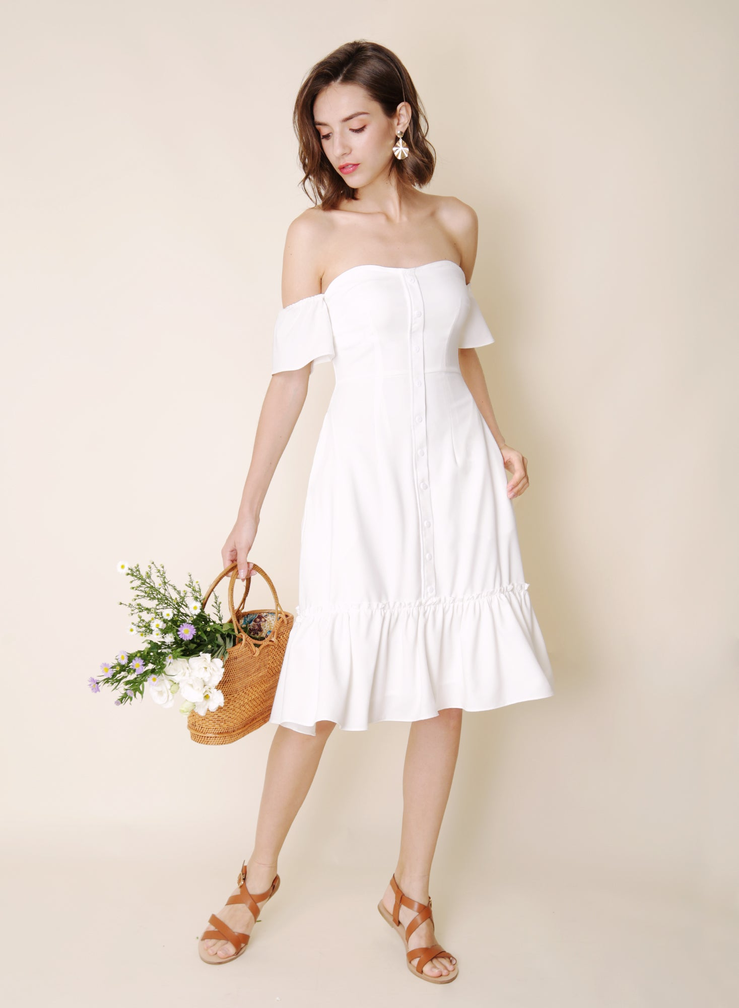 Bayview Off Shoulder Ruffle Hem Dress (White) - And Well Dressed