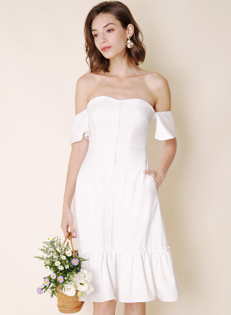 Bayview Off Shoulder Ruffle Hem Dress (White)