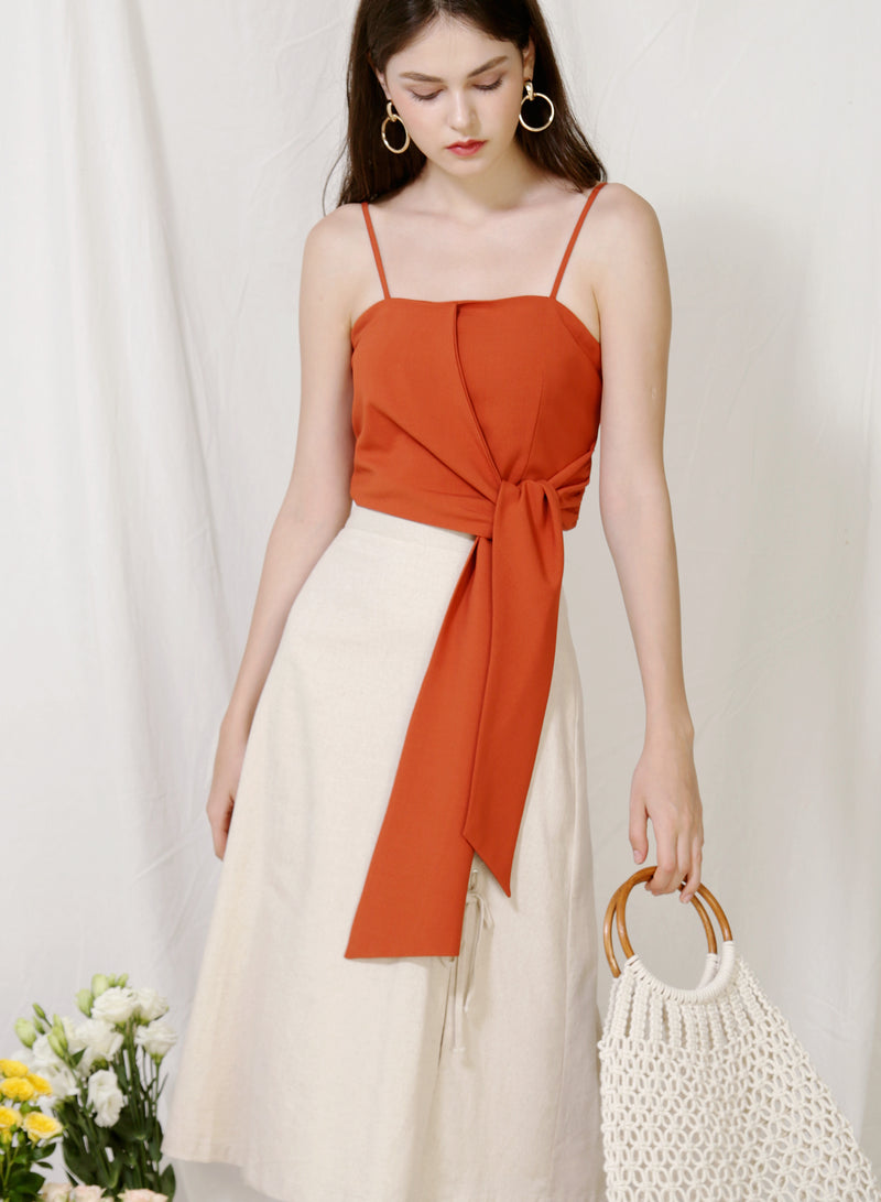 Moda Tie Front Top (Amber) at $ 36.00 only sold at And Well Dressed Online Fashion Store Singapore