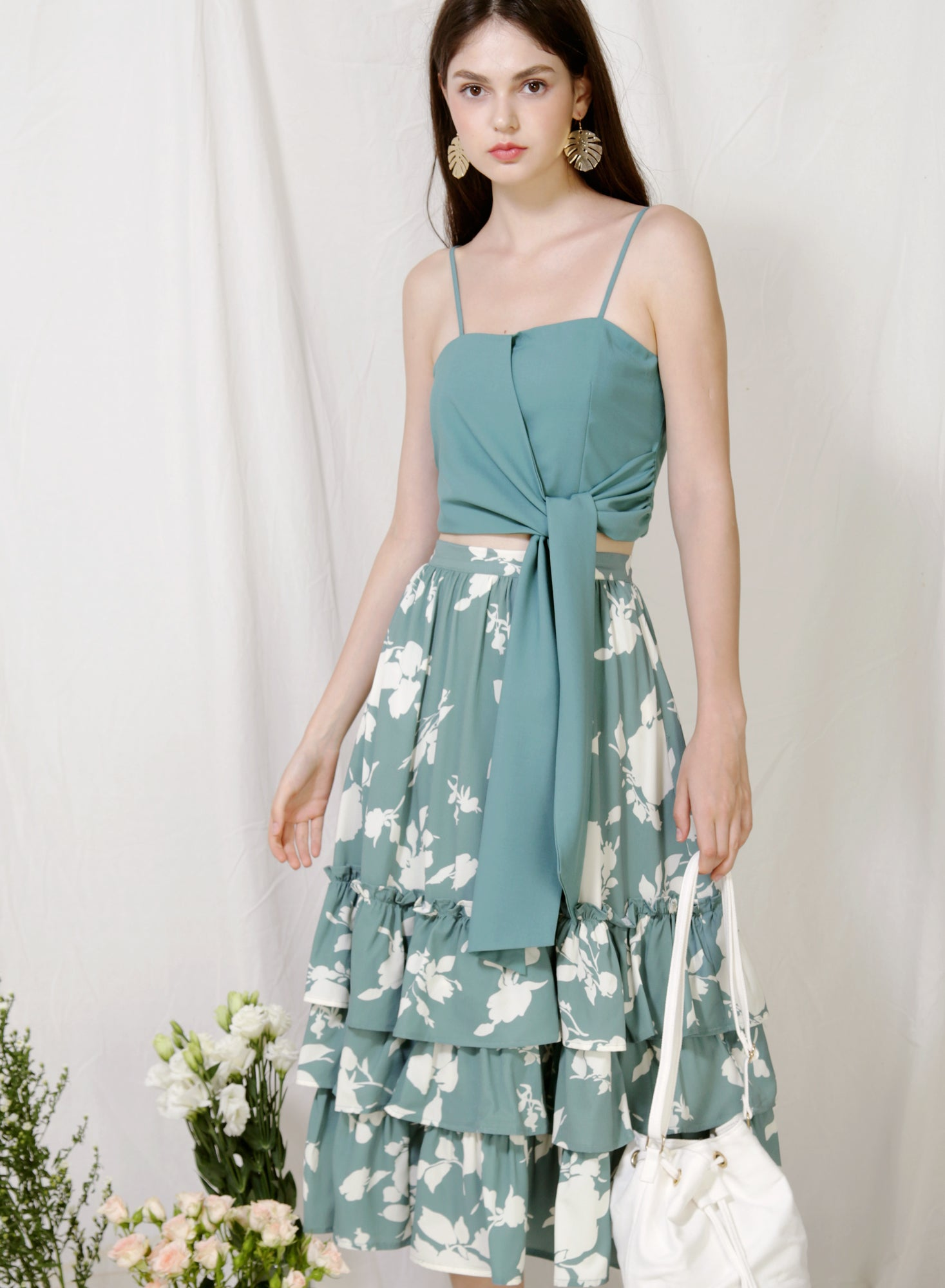 Moda Tie Front Top (Teal) at $ 36.00 only sold at And Well Dressed Online Fashion Store Singapore