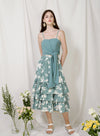 Charmed Ruffle Tiers Skirt (Teal Floral) at $ 39.50 only sold at And Well Dressed Online Fashion Store Singapore