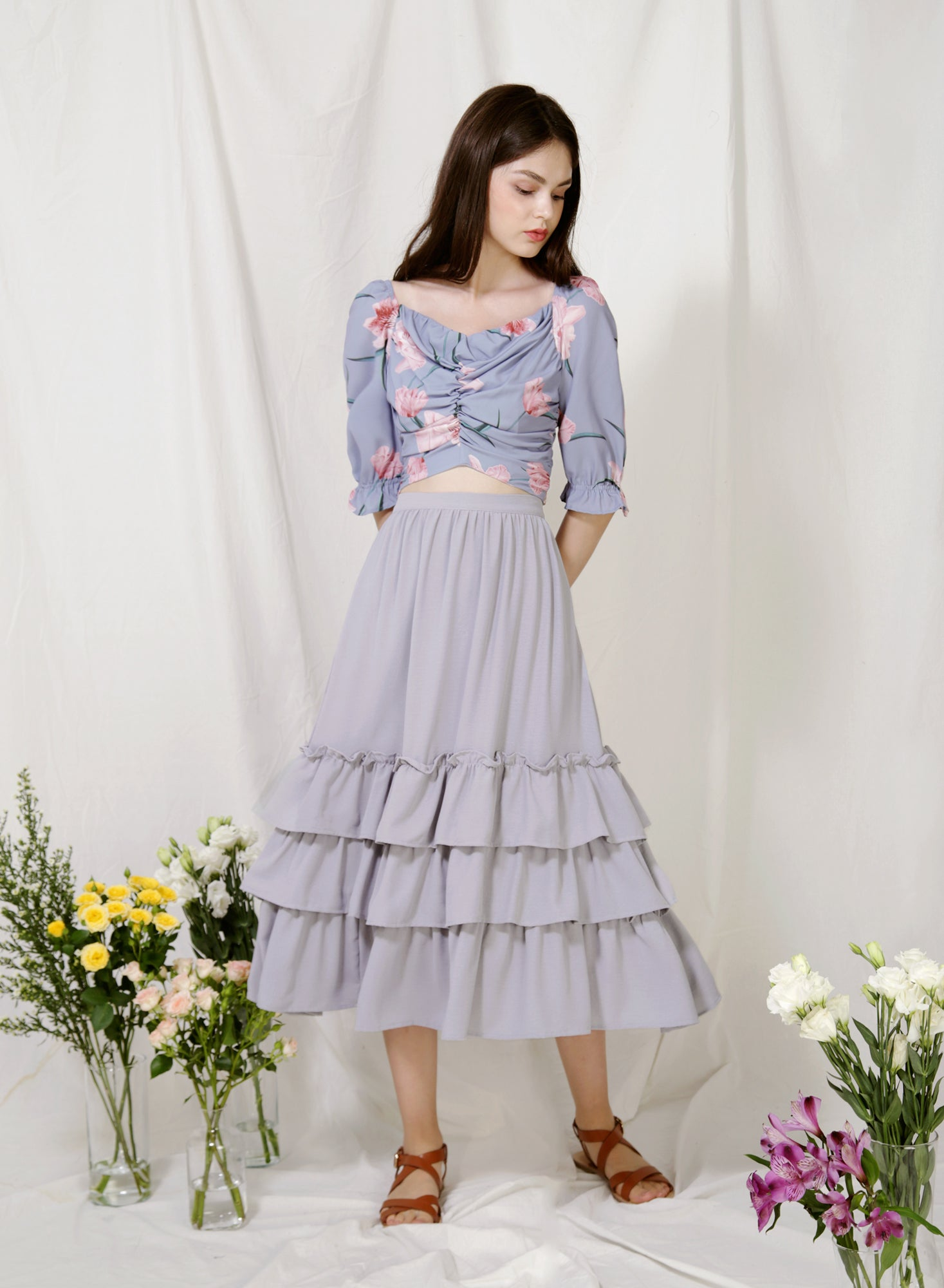 Charmed Ruffle Tiers Skirt (Lilac Grey) at $ 39.50 only sold at And Well Dressed Online Fashion Store Singapore