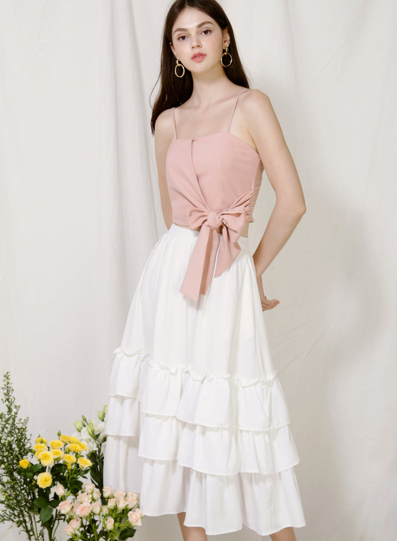 Moda Tie Front Top (Blush) at $ 36.00 only sold at And Well Dressed Online Fashion Store Singapore