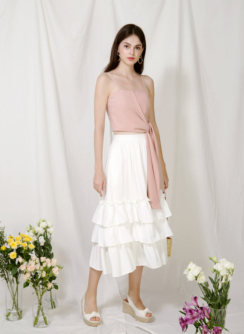 Charmed Ruffle Tiers Skirt (White) at $ 39.50 only sold at And Well Dressed Online Fashion Store Singapore
