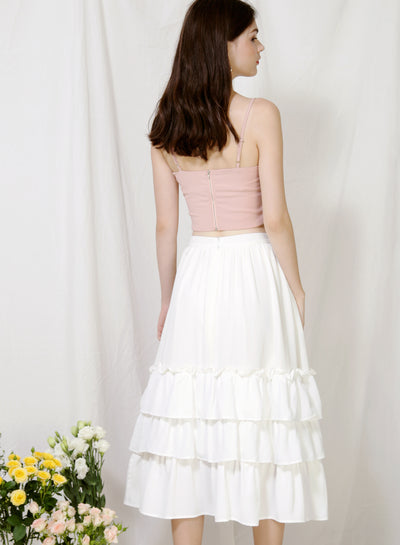 Charmed Ruffle Tiers Skirt (White)
