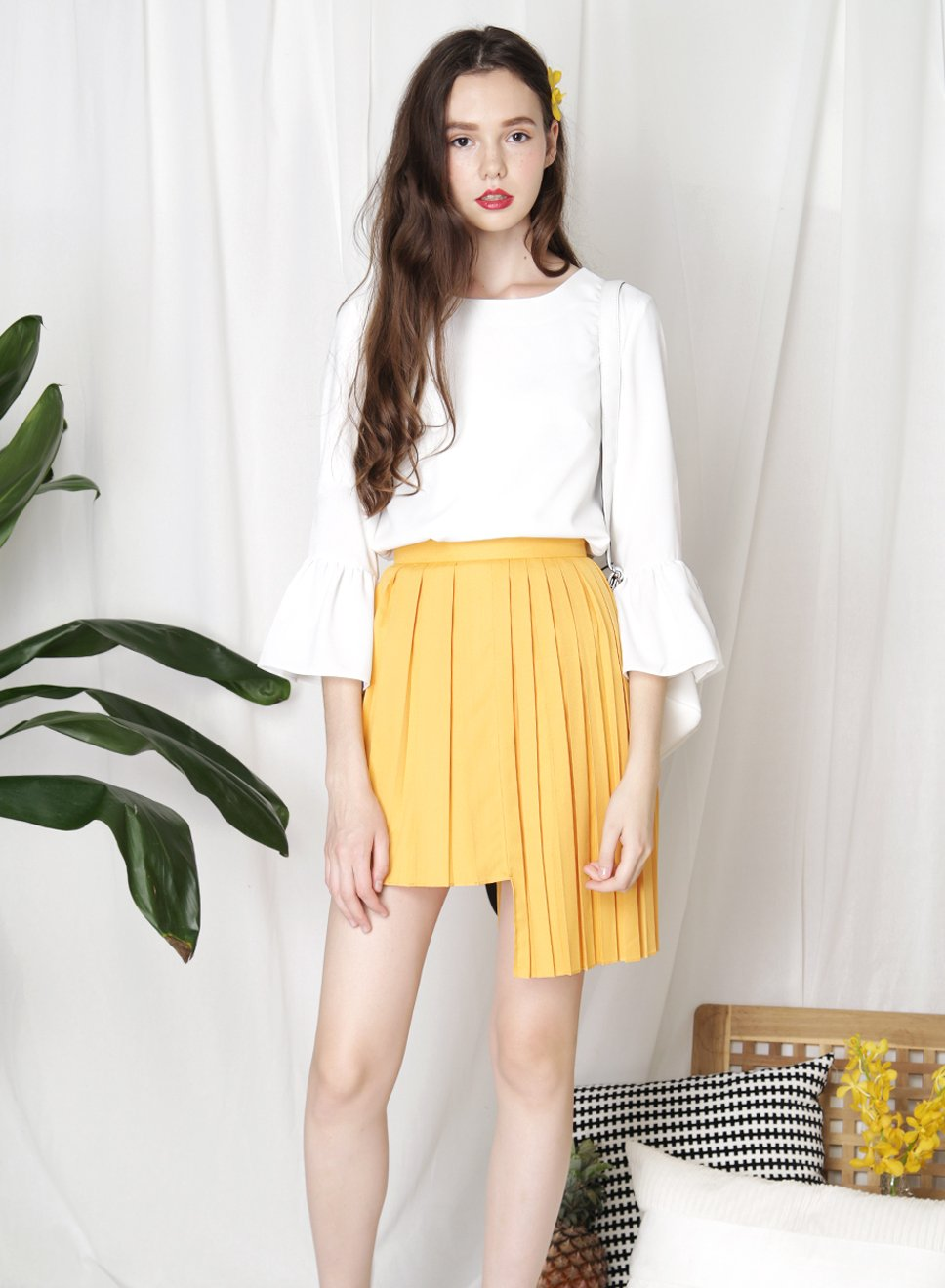 PARADOX Ruffle Hem Sleeves Top (White) - And Well Dressed