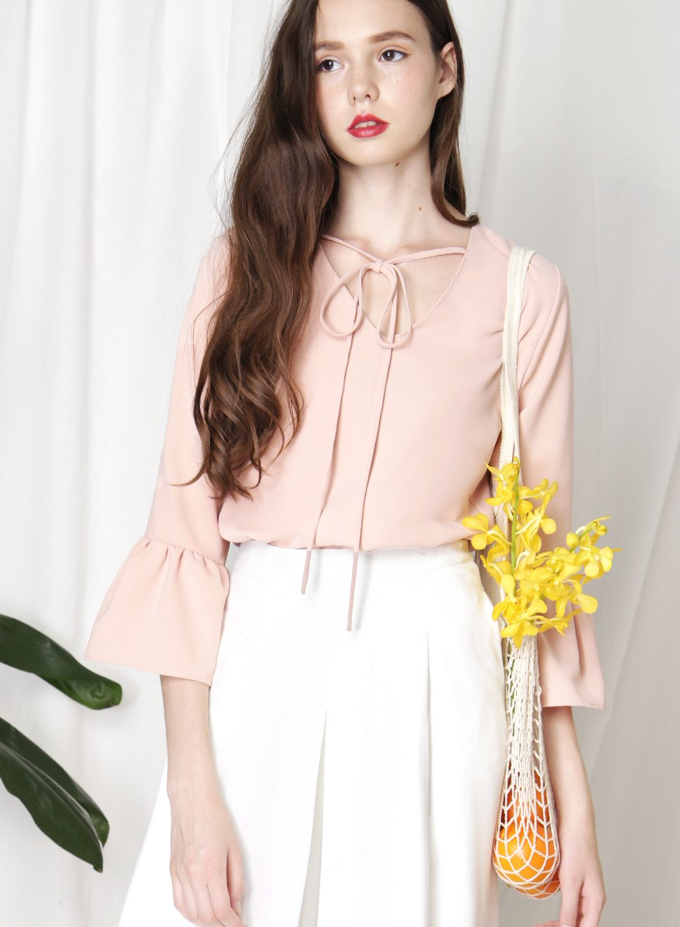 PARADOX Ruffle Hem Sleeves Top (Blush) at $ 34.50 only sold at And Well Dressed Online Fashion Store Singapore