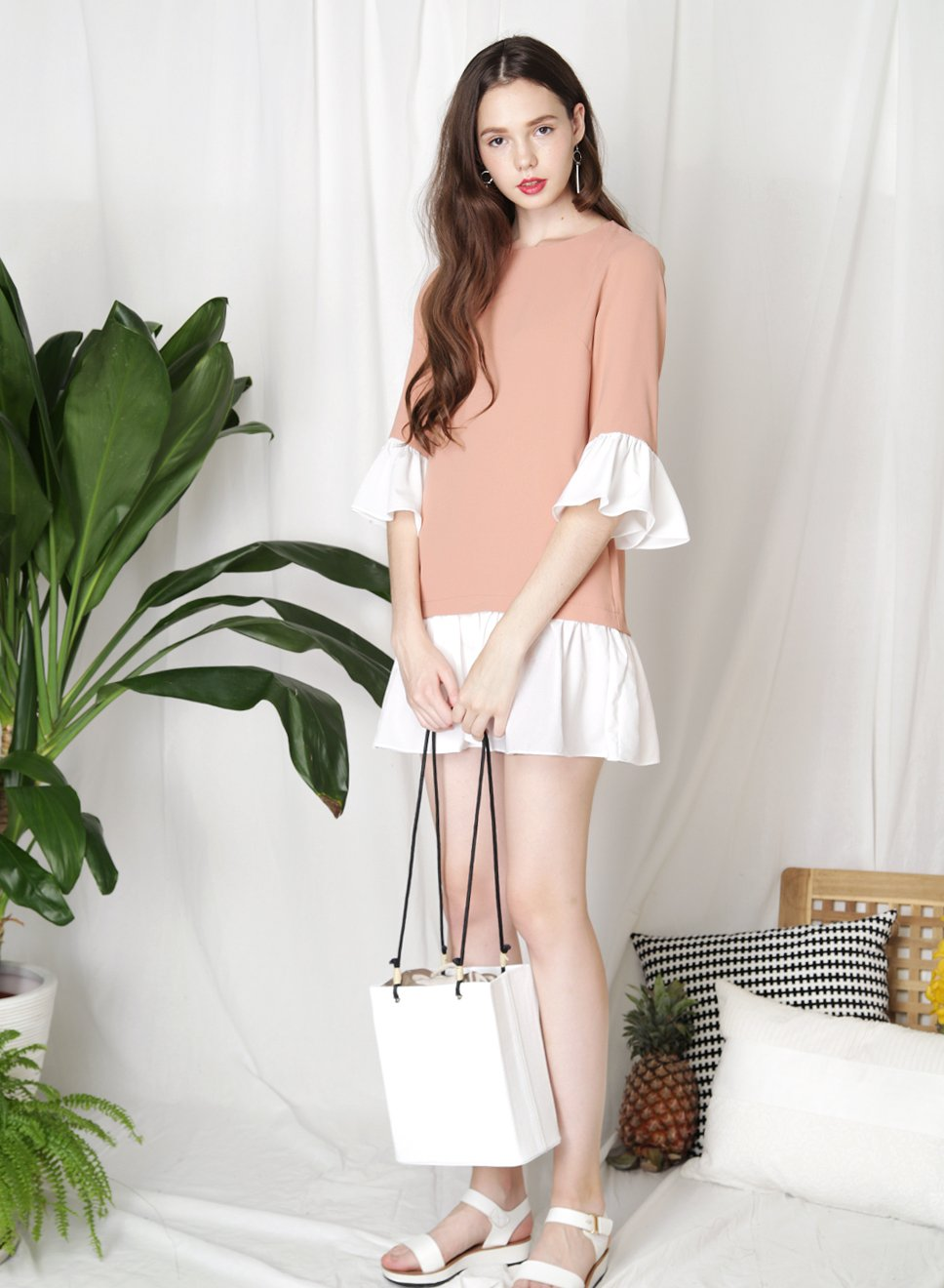MOMENTUM Contrast Ruffle Dress (Apricot) at $ 29.00 only sold at And Well Dressed Online Fashion Store Singapore