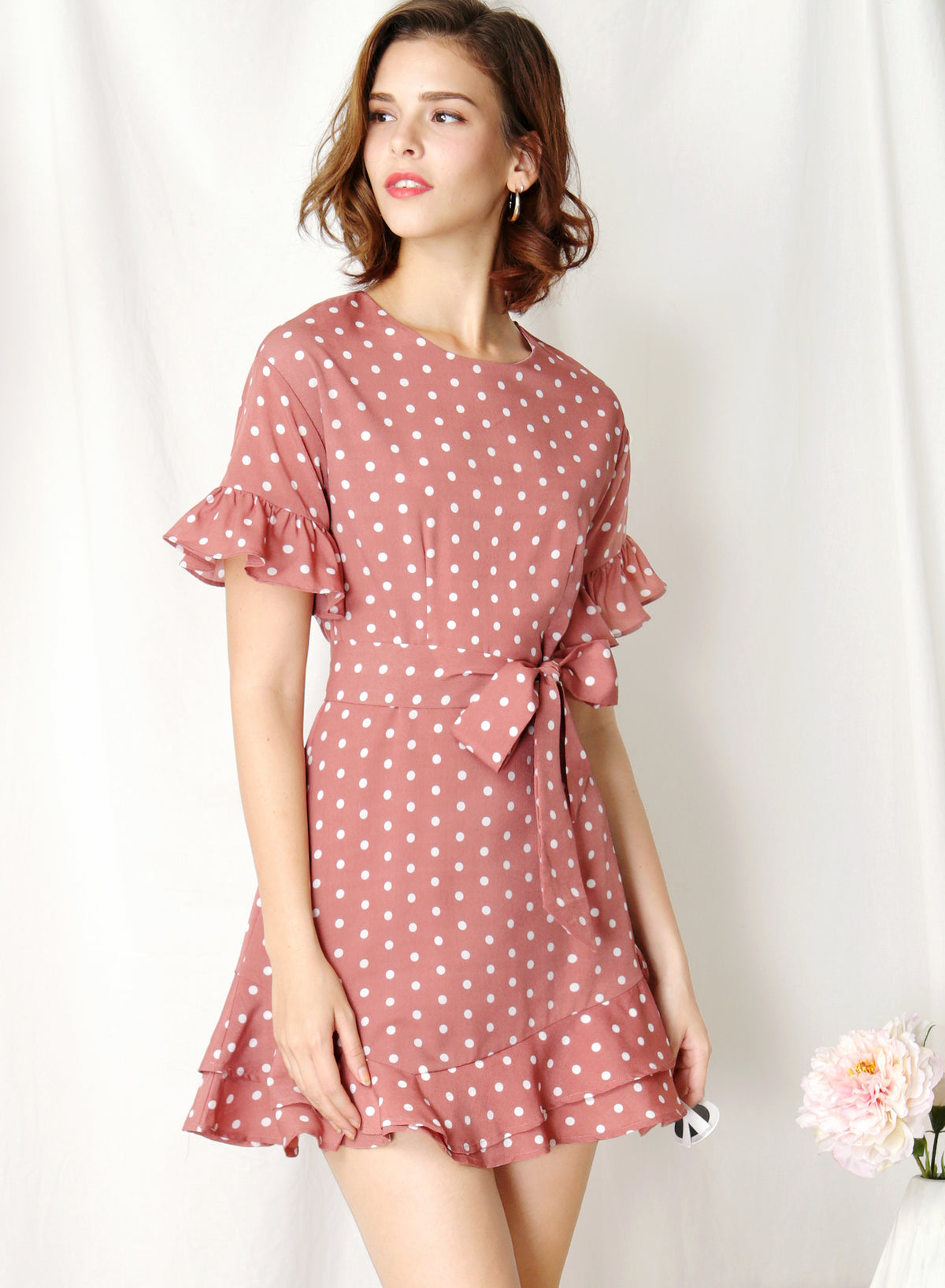 Daylight Ruffle Edge Dress (Pink Polka) at $ 43.50 only sold at And Well Dressed Online Fashion Store Singapore