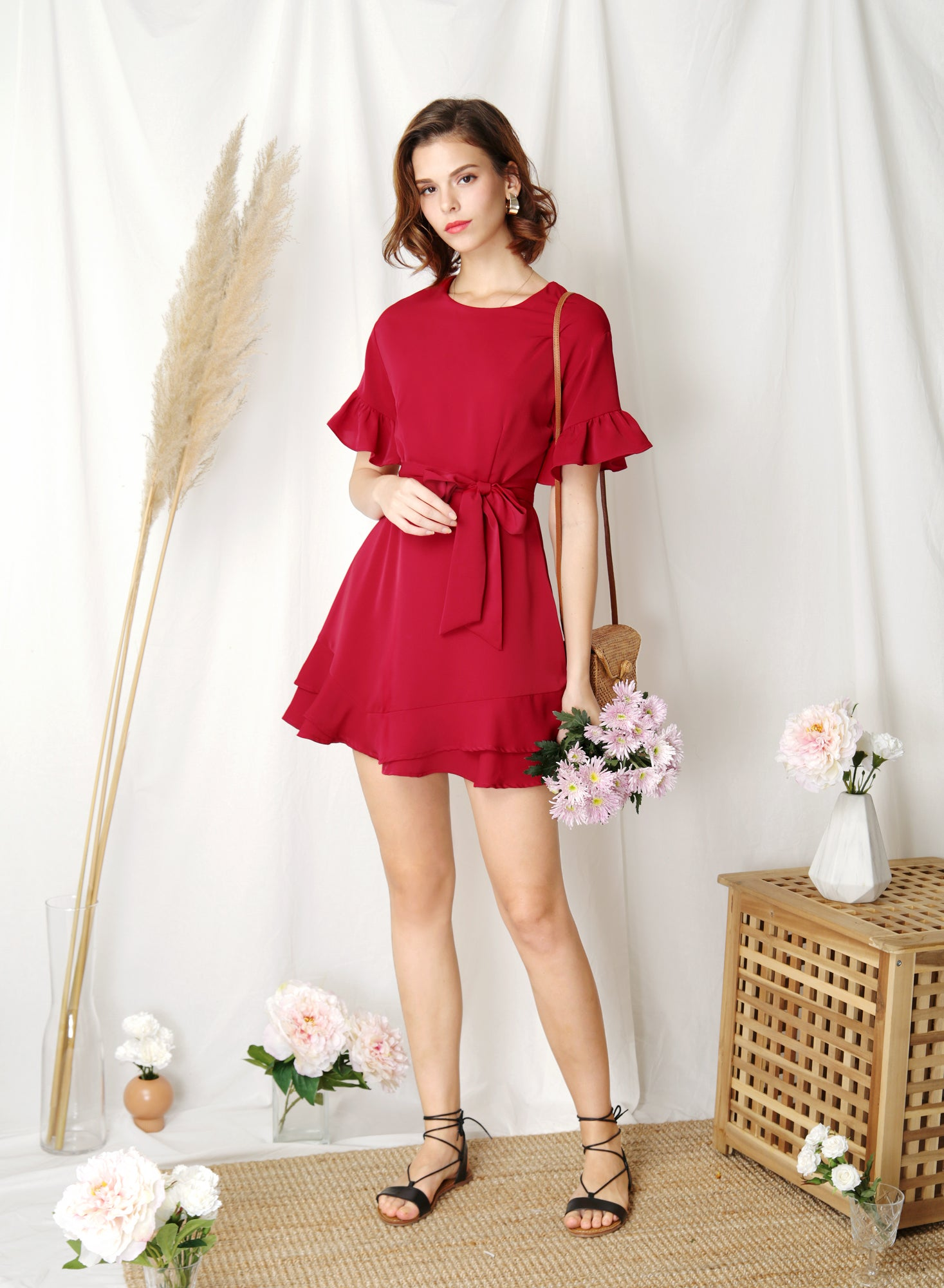 Daylight Ruffle Edge Dress (Scarlet) at $ 43.50 only sold at And Well Dressed Online Fashion Store Singapore