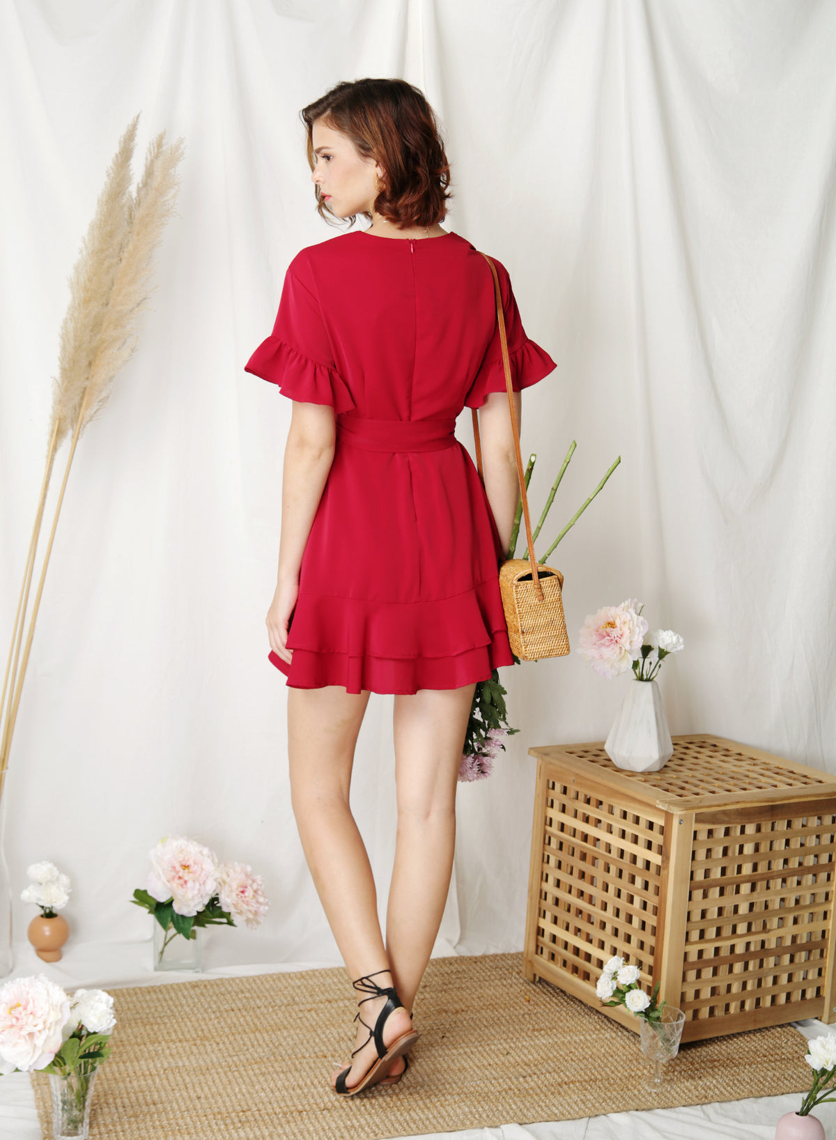 Daylight Ruffle Edge Dress (Scarlet) - And Well Dressed