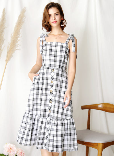 Devote Tie Shoulders Midi Dress (B/W Checks) - And Well Dressed