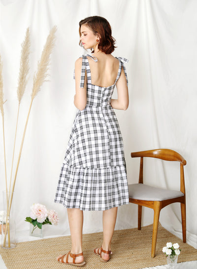 Devote Tie Shoulders Midi Dress (B/W Checks) at $ 45.00 only sold at And Well Dressed Online Fashion Store Singapore