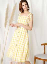 Devote Tie Shoulders Midi Dress (Yellow) at $ 45.00 only sold at And Well Dressed Online Fashion Store Singapore