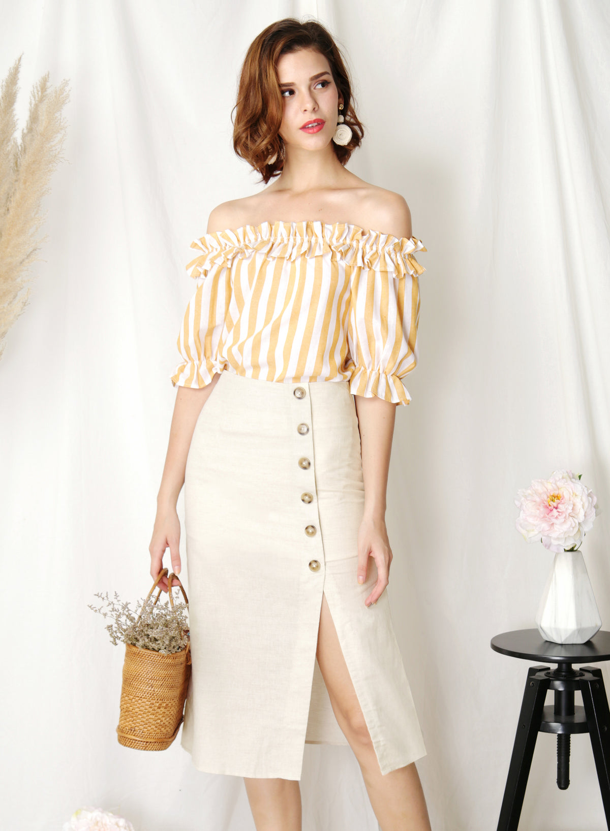 Afloat Off Shoulder Frill Top (Yellow Stripes)