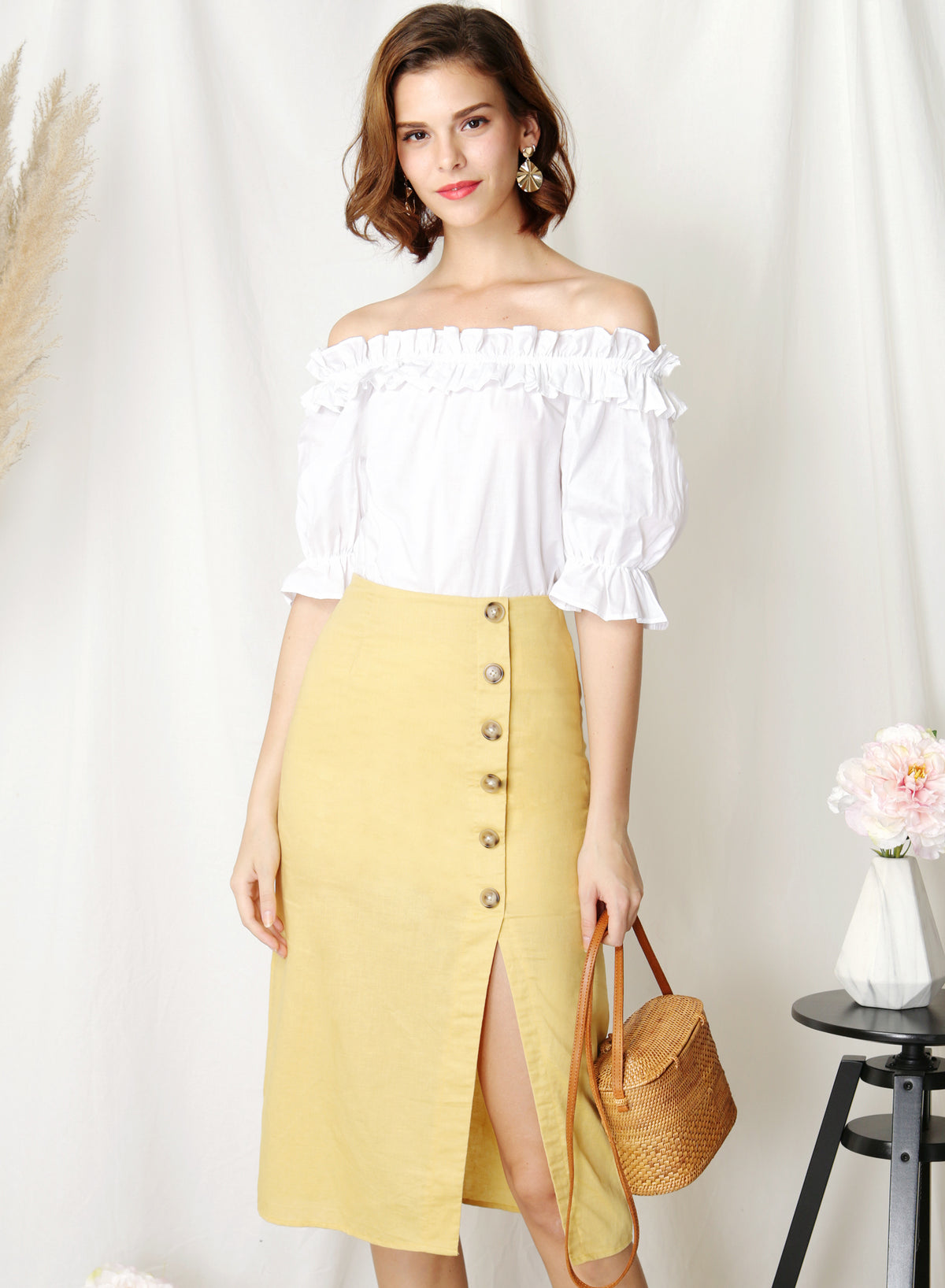Afloat Off Shoulder Frill Top (White) at $ 34.50 only sold at And Well Dressed Online Fashion Store Singapore